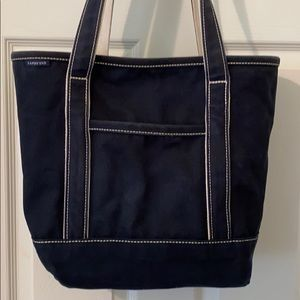 Lands End Classic Navy Long Handle Tote Bag